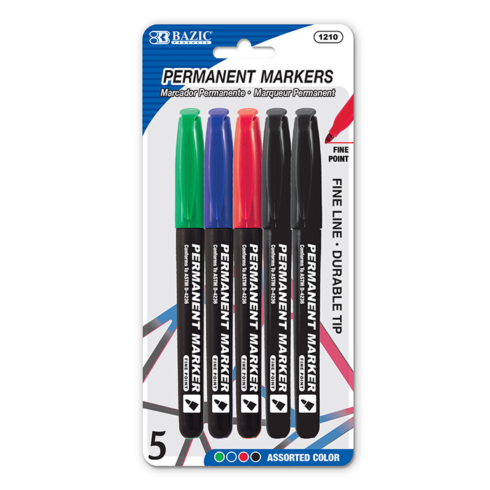 BAZIC Asst. Color Fine Tip Permanent Markers w/ Pocket Clip (6/Pack)