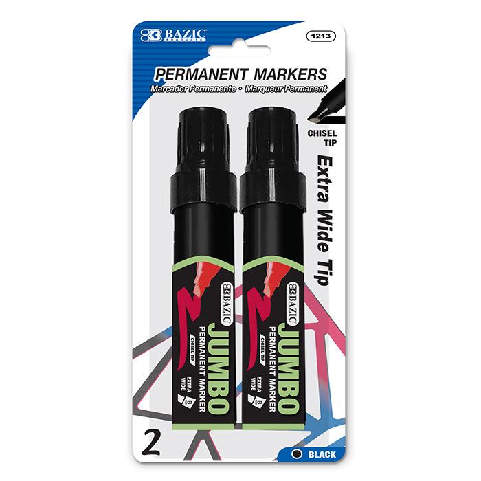 BAZIC 8 mm Jumbo Chisel Tip Permanent Marker (2/Pack)