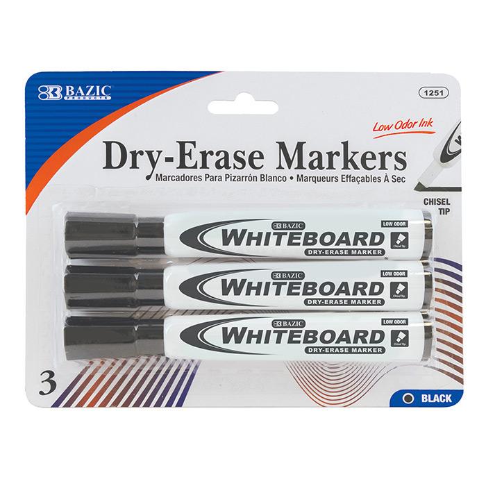 BAZIC Black Chisel Tip Dry-Erase Markers (3/Pack)