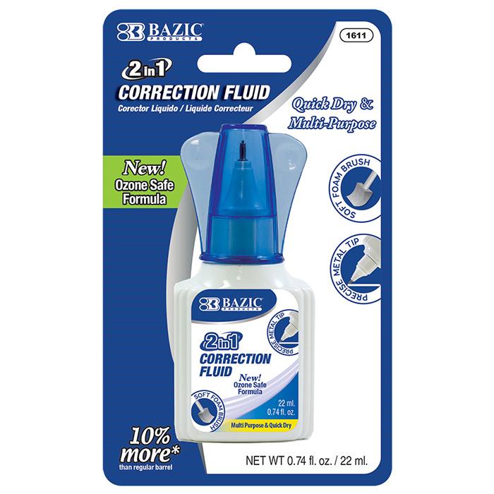 BAZIC 22ml 2 in 1 Correction w/ Foam Brush Applicator & Pen Tip