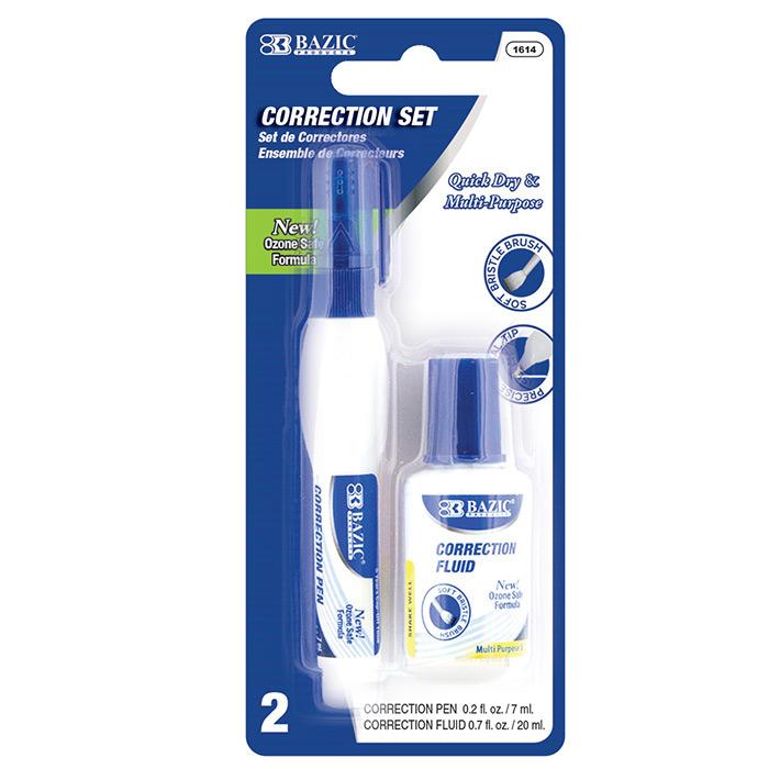 BAZIC Metal Tip Correction Pen & Correction Fluid (2/Pack)