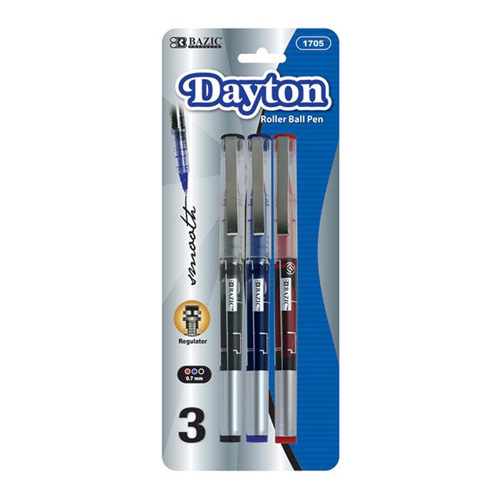 BAZIC Dayton Asst. Color Rollerball Pen w/ Metal Clip (3/Pk)