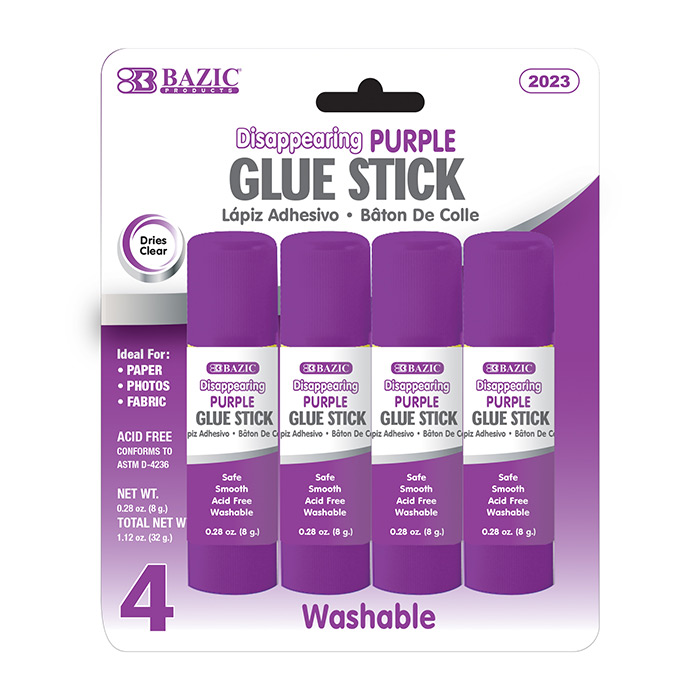 BAZIC 8g / 0.28 Oz. Washable Purple Glue Stick (4/Pack)
