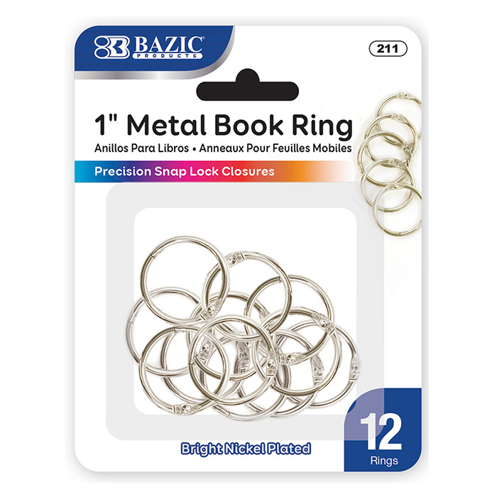 BAZIC 1 Metal Book Rings (12/Pack)