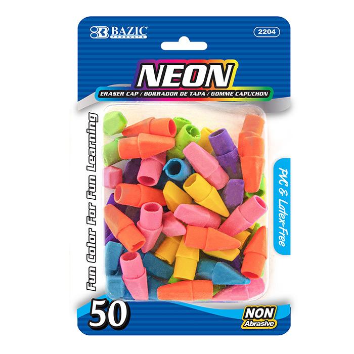 BAZIC Neon Eraser Top (50/Pack)