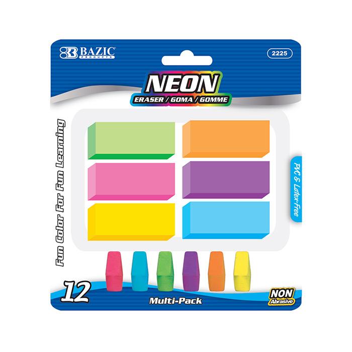 BAZIC Neon Eraser Sets (12/Pack)