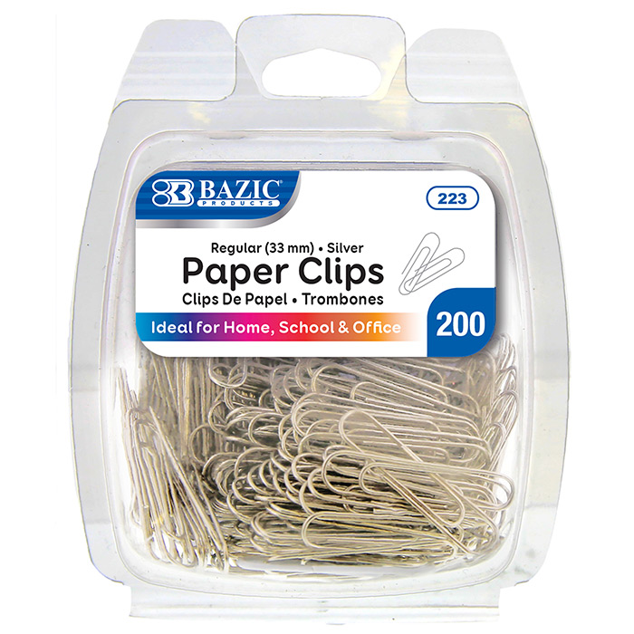 BAZIC No.1 Regular (33mm) Silver Paper Clips (200/Pack)