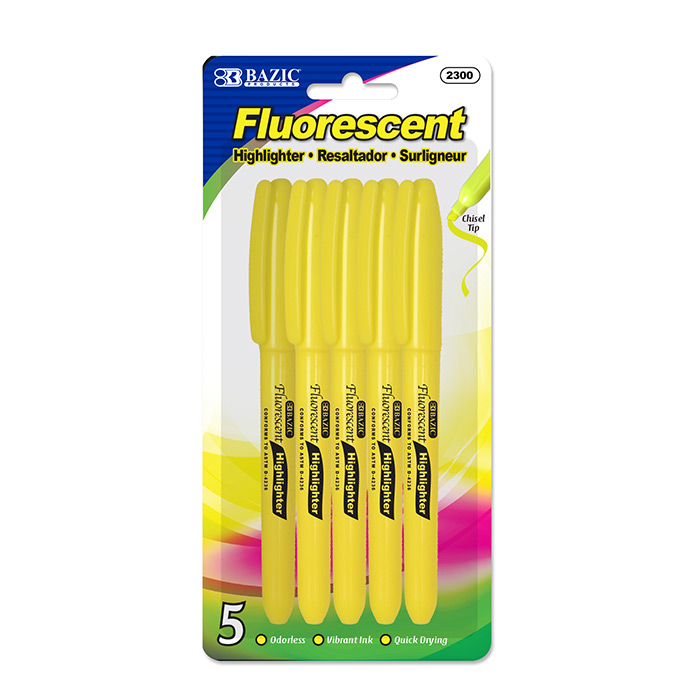 BAZIC Yellow Pen Style Fluorescent Highlighter w/ Pocket Clip (5/Pk