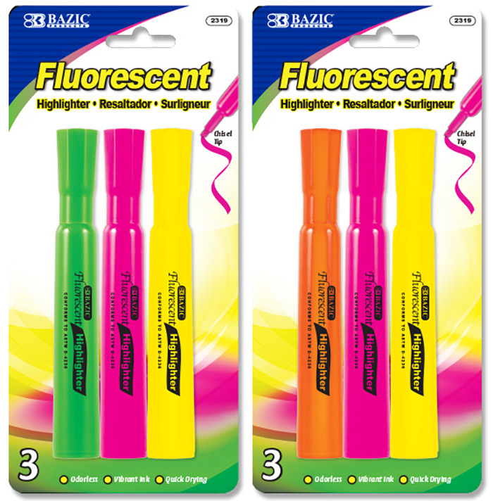 BAZIC Desk Style Fluorescent Highlighters (4/Pack)