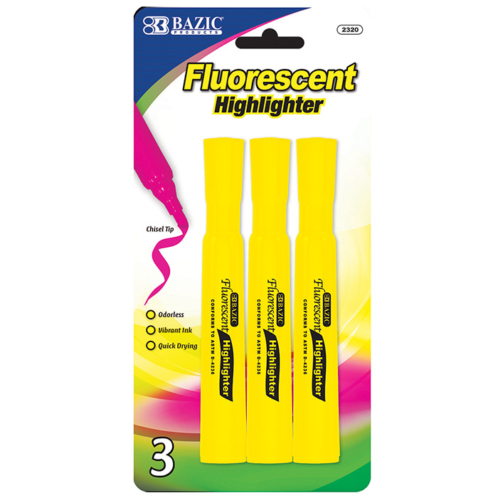 BAZIC Yellow Desk Style Fluorescent Highlighters (4/Pack)