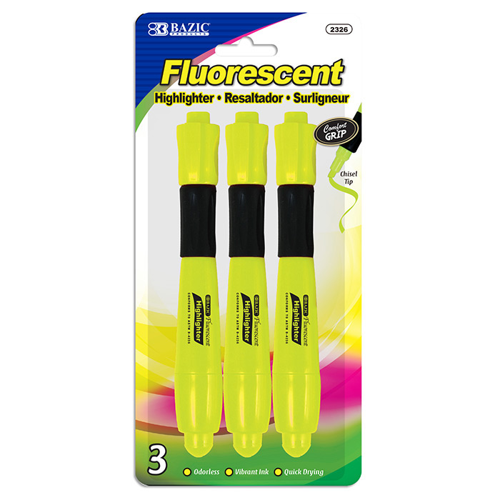 BAZIC Yellow Desk Style Fluorescent Highlighters w/ Cushion Grip (3/Pack)