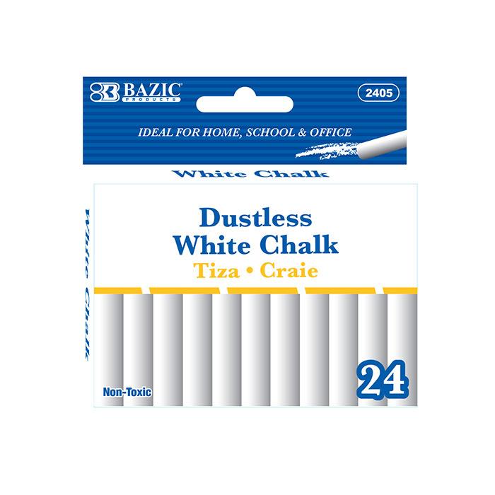 BAZIC Dustless White Chalk (24/Box)