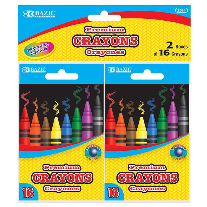 BAZIC 16 Color Premium Quality Crayon (2/Pack)
