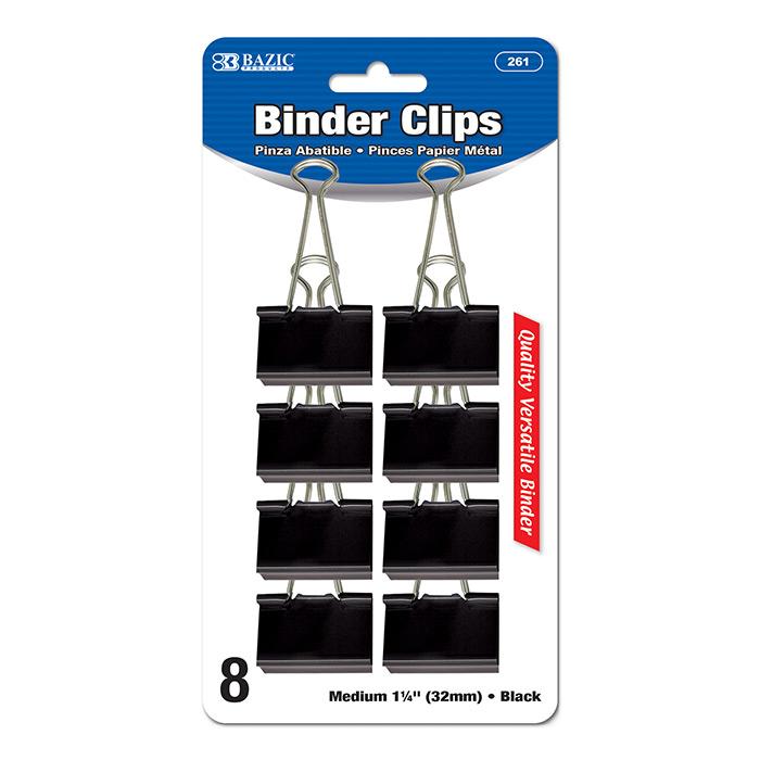 BAZIC Medium 1 1/4 (32mm) Black Binder Clip (8/Pack)