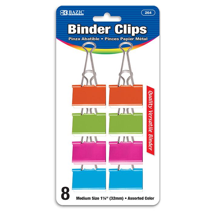 BAZIC Medium 1 1/4 (32mm) Assorted Color Binder Clip (8/Pack)