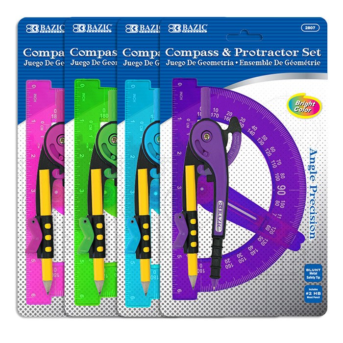 BAZIC Scale-Arm Compass w/ #2 Wood Pencil & 6 Protractor Set