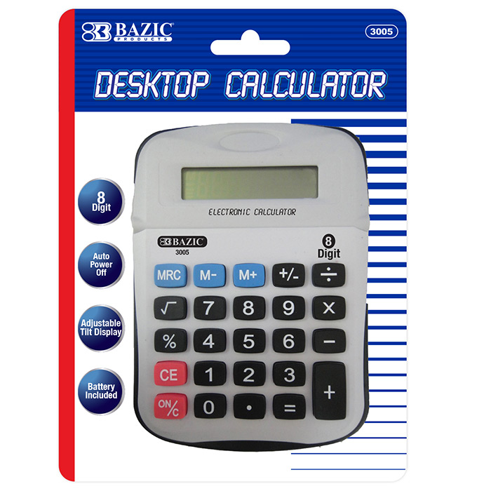 BAZIC 8-Digit Calculator w/ Adjustable Display