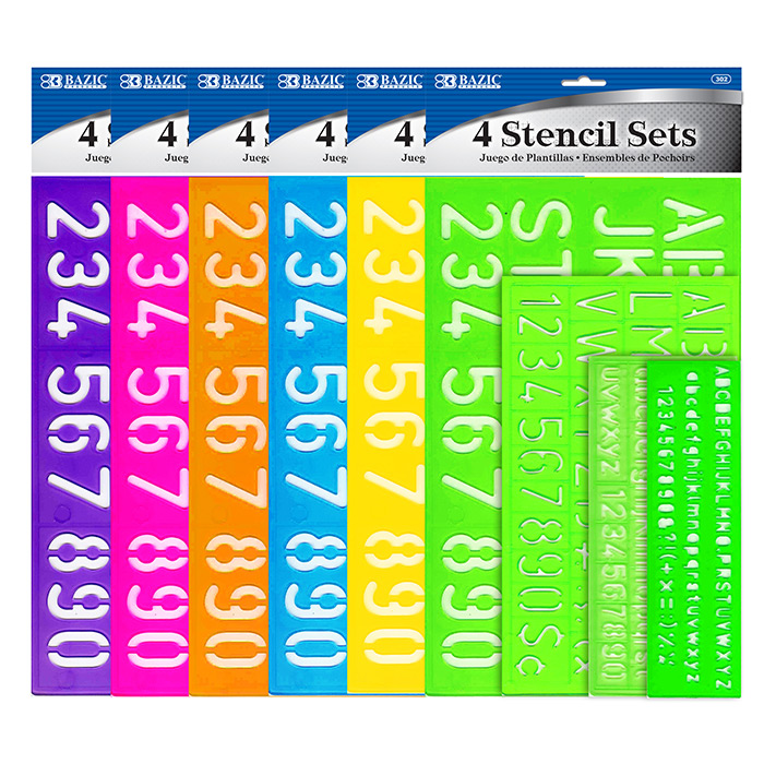 BAZIC 8, 10, 20, 30 mm Size Multicolor Lettering Stencil Sets (4/Pack)