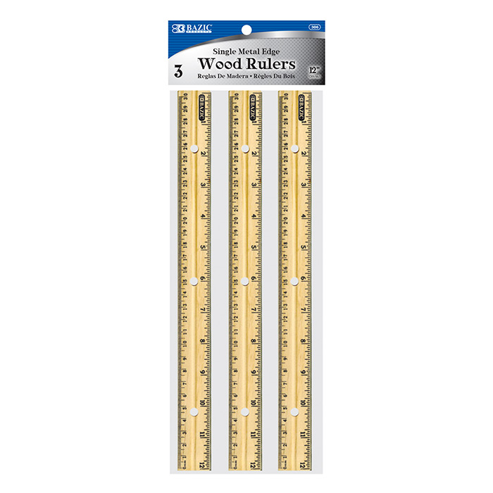 BAZIC 12 (30cm) Wooden Ruler (3/Pack)