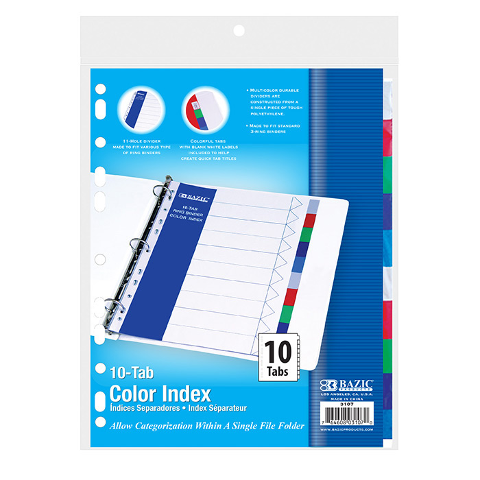 BAZIC 3-Ring Binder Dividers w/ 10-Color Tabs