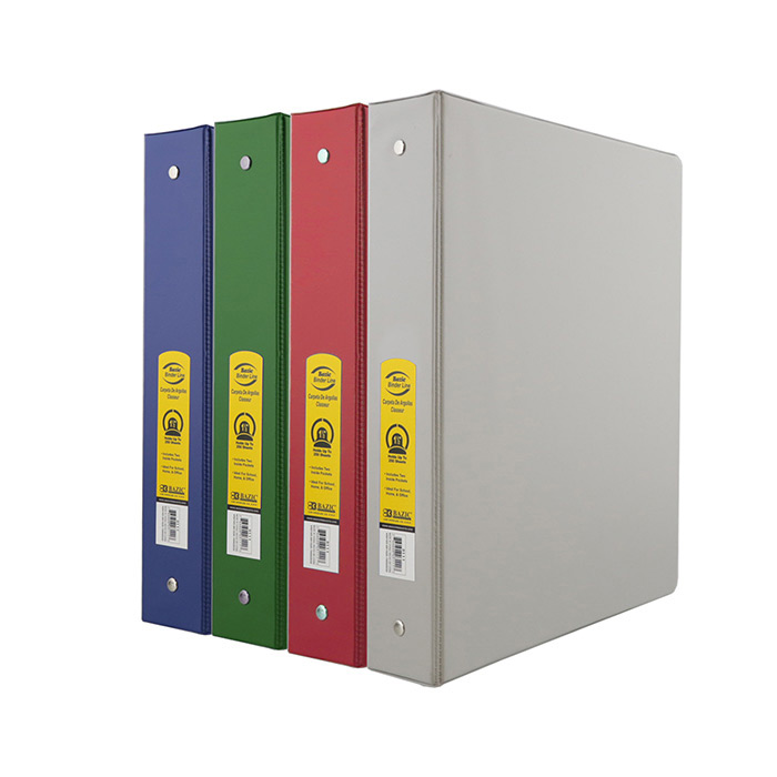 BAZIC 1.5  Asst. Color PVC 3-Ring Binder w/ 2-Pockets