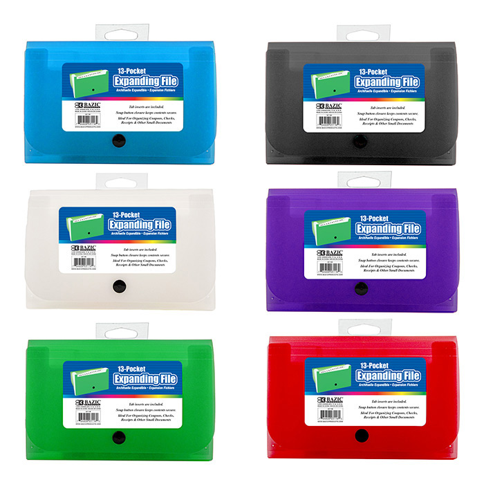 BAZIC 5-Pockets Coupon/Personal Check Size Expanding File