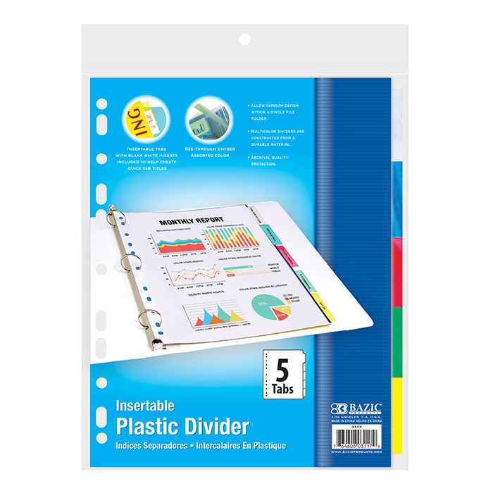 BAZIC 3-Ring Binder Dividers w/ 5-Insertable Color Tabs