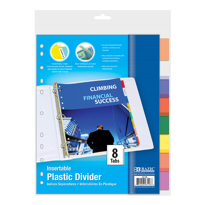BAZIC 3-Ring Binder Dividers w/ 8-Insertable Color Tabs