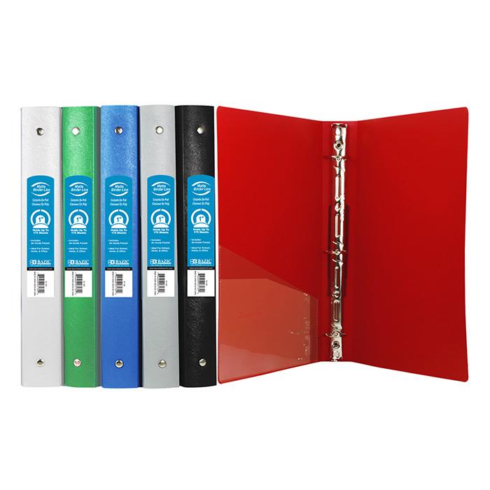 BAZIC 1 Matte Color Poly 3-Ring Binder w/ Pocket