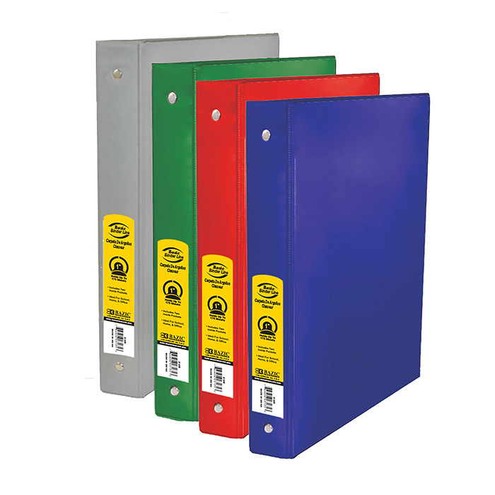 BAZIC 1 Asst. Color 3- Ring Binder w/ 2-Pockets