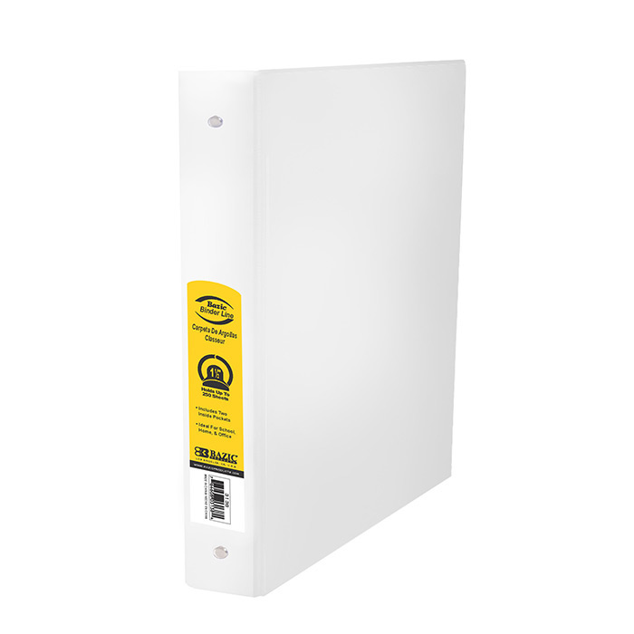 BAZIC 1.5 White 3-Ring Binder w/ 2-Pockets