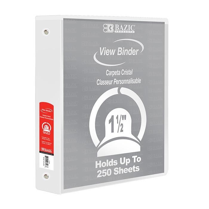 BAZIC 1.5 White 3-Ring View Binder w/ 2-Pockets