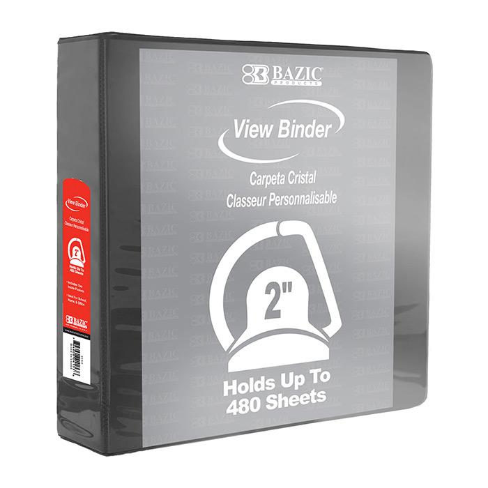 BAZIC 2 Black 3-Ring View Binder w/ 2 Pockets