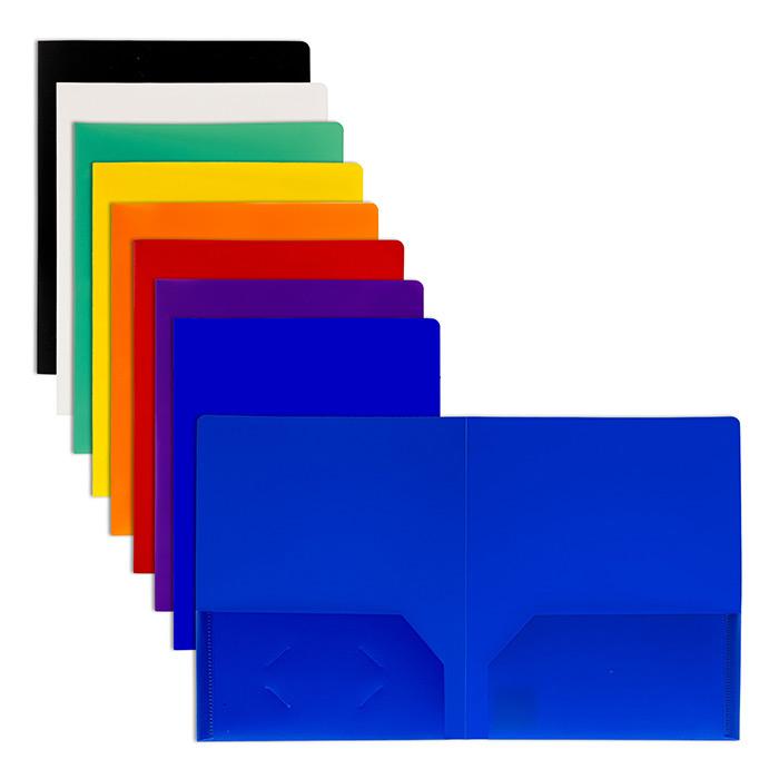 BAZIC Solid Color 2-Pockets Poly Portfolio