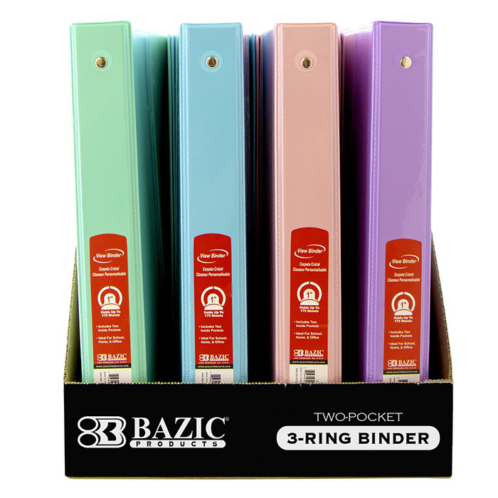 BAZIC 1/2 Bright Color 3-Ring View Binder w/ 2-Pockets