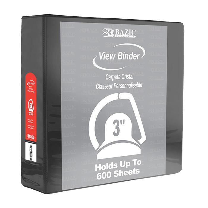 BAZIC 3 Black 3-Ring View Binder w/ 2 Pockets