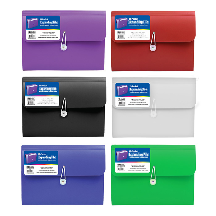 BAZIC 13-Pocket Letter Size Poly Expanding File