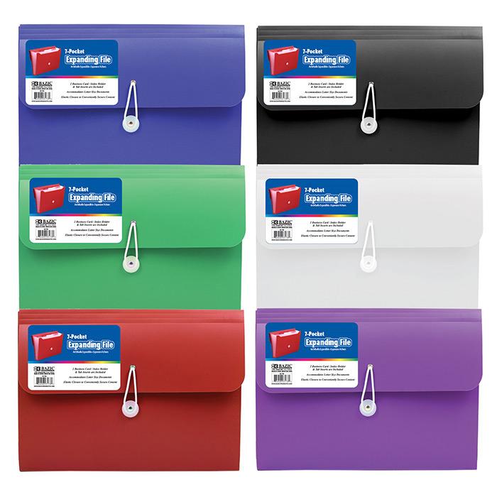 BAZIC 7-Pocket Letter Size Poly Expanding File