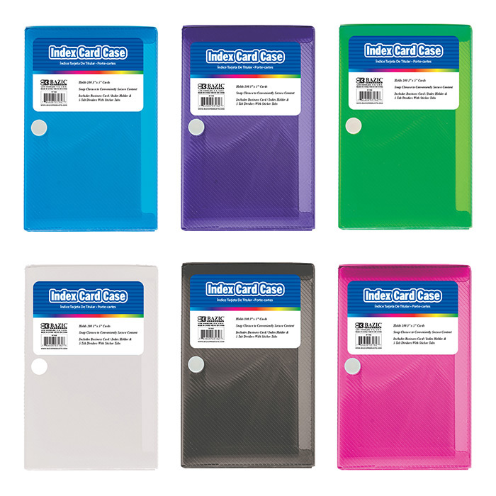 BAZIC 3 X 5 Index Card Case w/ 5-Tab Divider