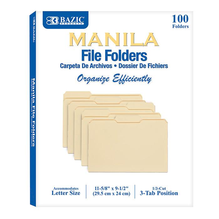 BAZIC 1/3 Cut Letter Size Manila File Folder (100/Box)