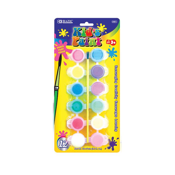 BAZIC 12 Color 6ml Kid's Paint w/ Brush