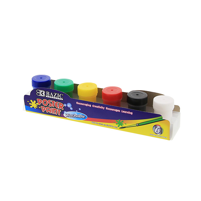 BAZIC 6 Color 18ml Poster Paint w/ Brush
