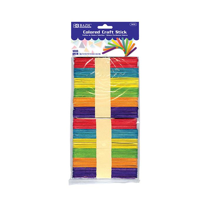 BAZIC Colored Craft Sticks (200/Pack)