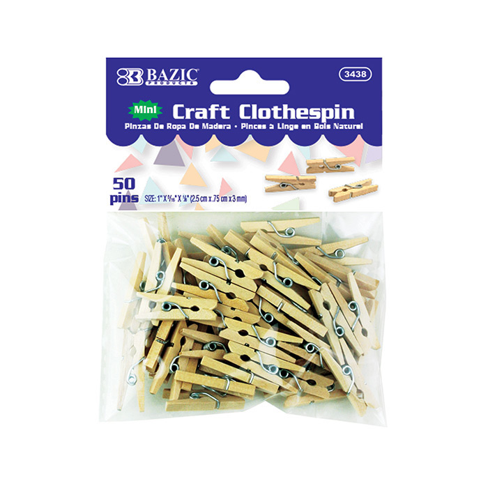 BAZIC Mini Natural Clothespins (50/Pack)