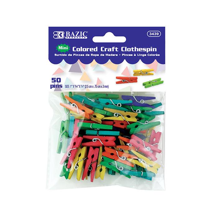 BAZIC Mini Colored Clothespin (50/Pack)