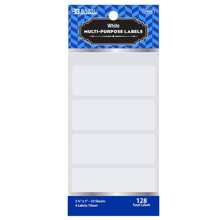 BAZIC 2 3/4 X 1 White Multipurpose Label (128/Pack)