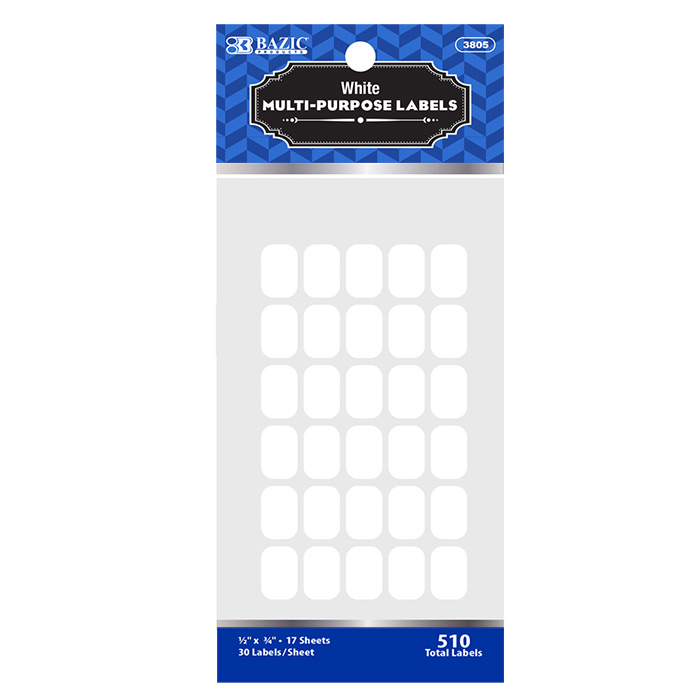 BAZIC 1/2 X 3/4 White Multipurpose Label (510/Pack)