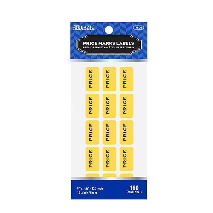 BAZIC Yellow Price Mark Label (180/Pack)