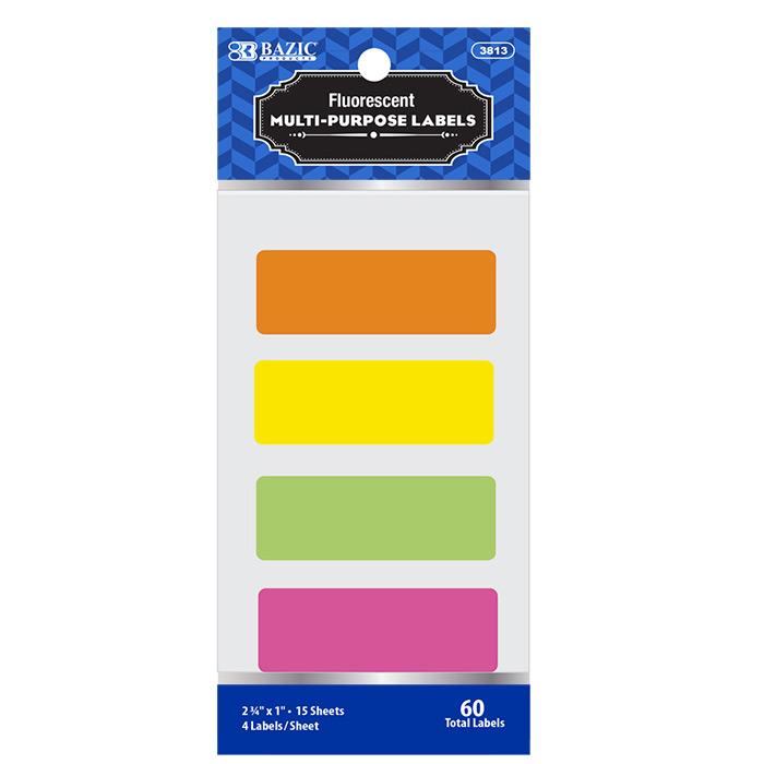 BAZIC 2 3/4 X 1 Fluorescent Multipurpose Label (60/Pack)
