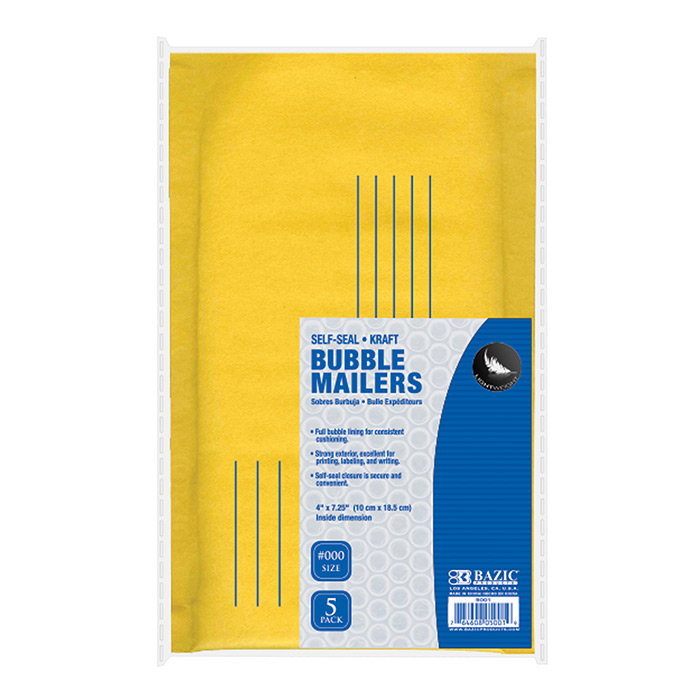BAZIC 4 X 7.25 (#000) Self Sealing Bubble Mailers (5/Pack)